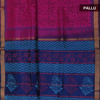 Printed Silk Cotton Saree - Pink and Blue with Simple zari border