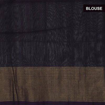 Kora Silk Cotton Saree Brown and Blue with ikkat prints