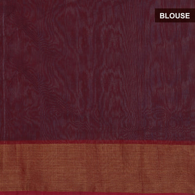 Kora Silk Cotton Saree Brown and Maroon with ikkat prints