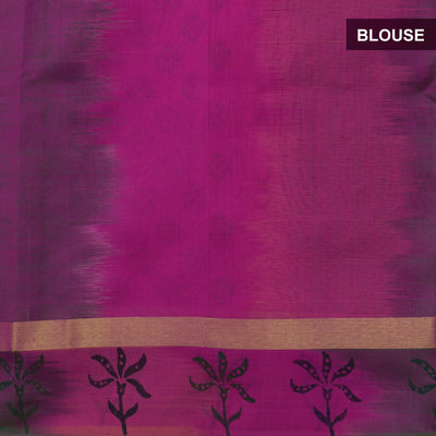 Printed Silk Cotton Saree Pink and Green with Leaf design