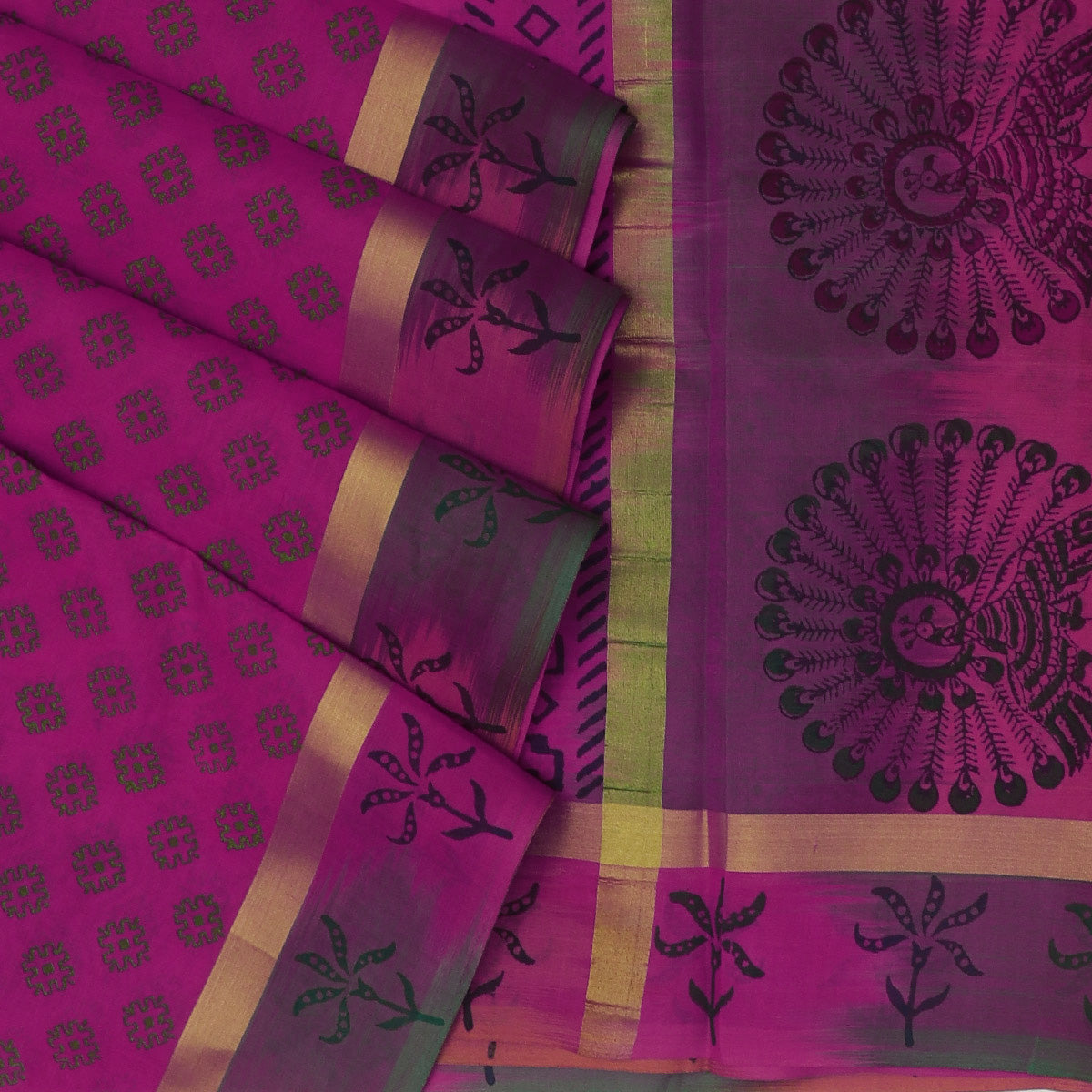 Printed Silk Cotton Saree Pink and Green with Leaf design for Rs.Rs. 3320.00 | Silk Cotton Sarees by Prashanti Sarees