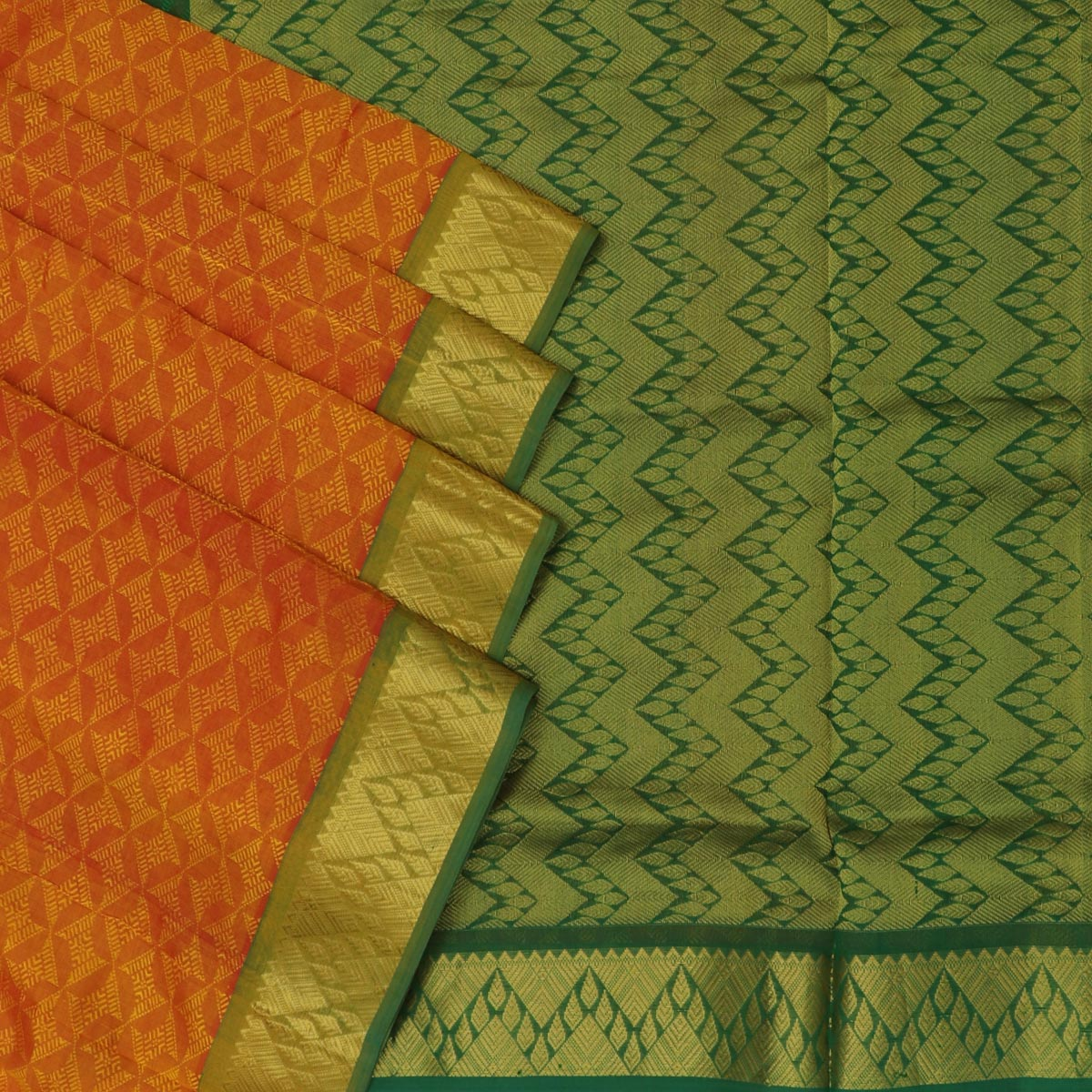 Silk Cotton Saree - Mango yellow and Green with Temple border 9 yards