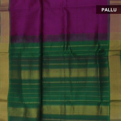 Silk Cotton Saree - Pink and Green with bavanji zari border 9 yards