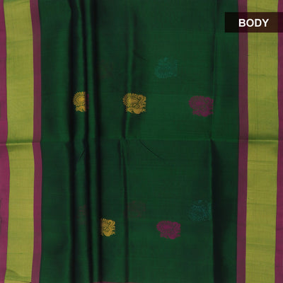 Silk Cotton Saree - Dark Green and Pink with Peacock butta and zari border