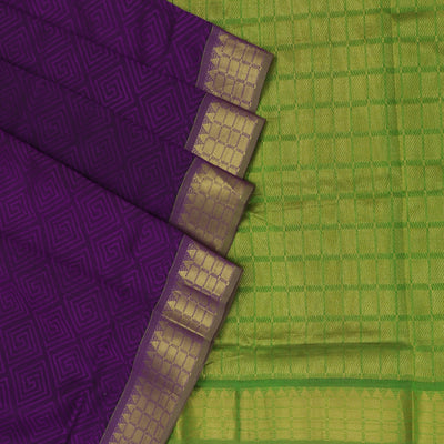 Silk Cotton Saree - Violet and Green with Temple zari border 9 yards