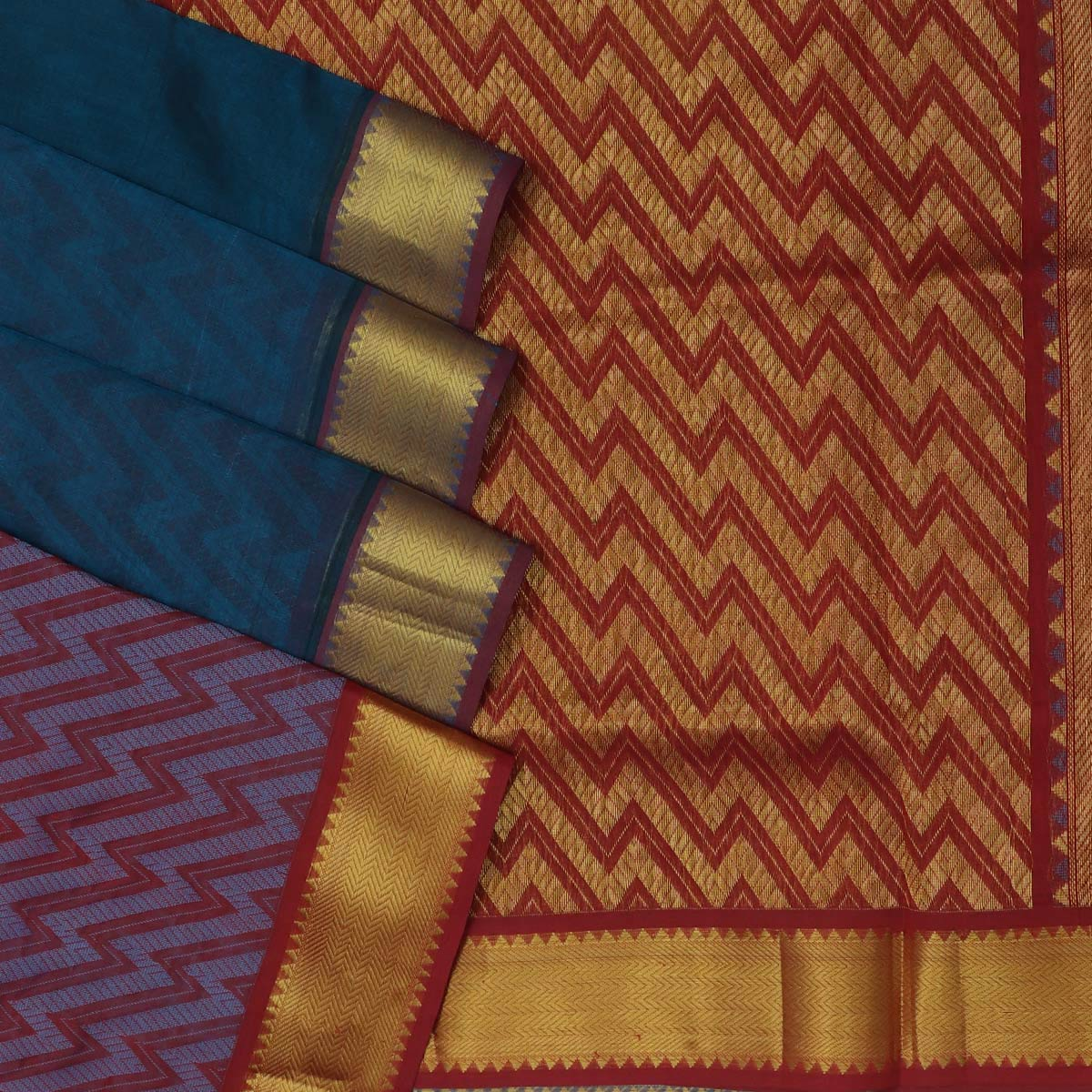 Silk Cotton Saree - Peacock blue and Maroon with Temple zari border partly