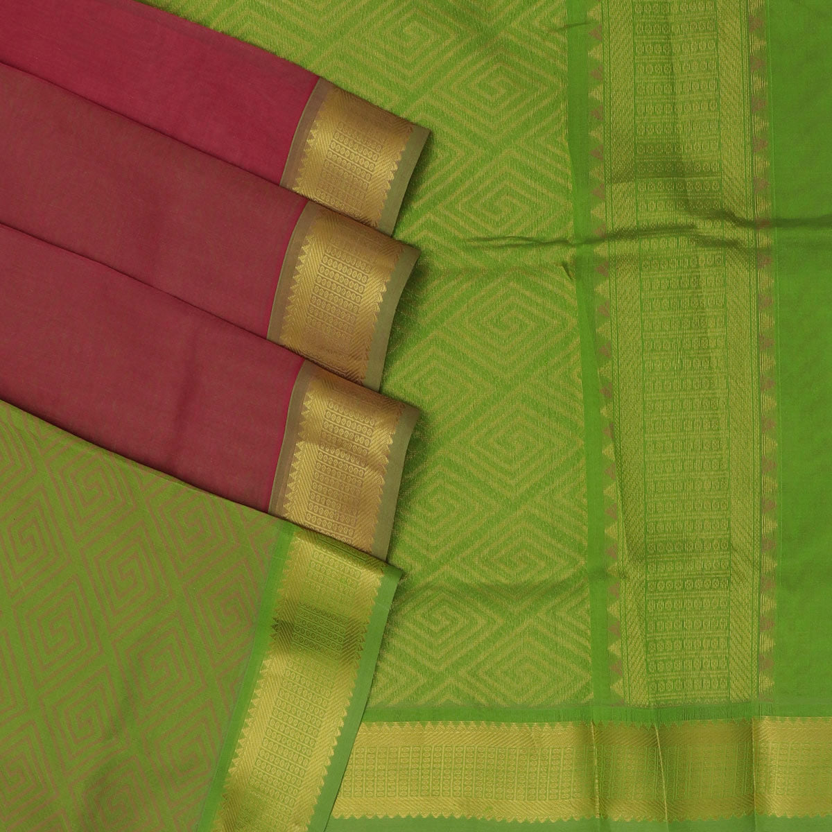 Silk Cotton Saree - Onion Pink and Green with Temple zari border partly