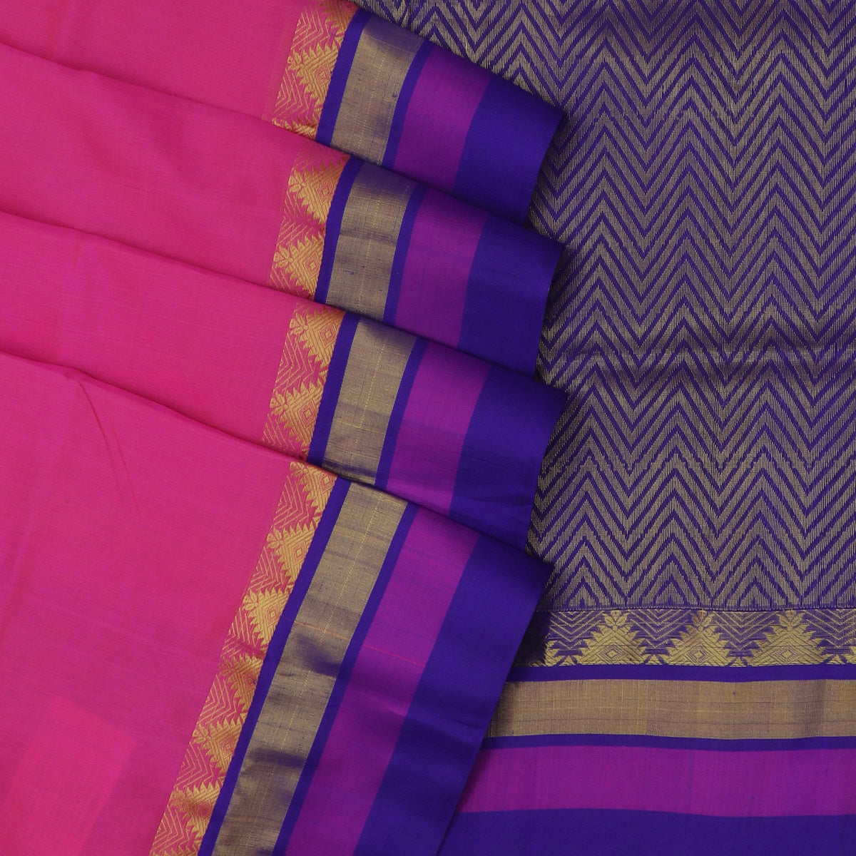kuppadam Silk Cotton Saree - Pink and Blue with Temple Silk border