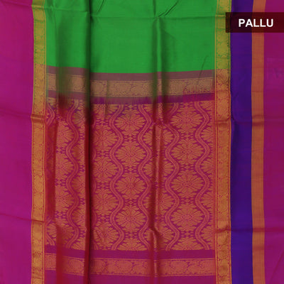 kuppadam Silk Cotton Saree - Green and Pink with Peacock zari silk border