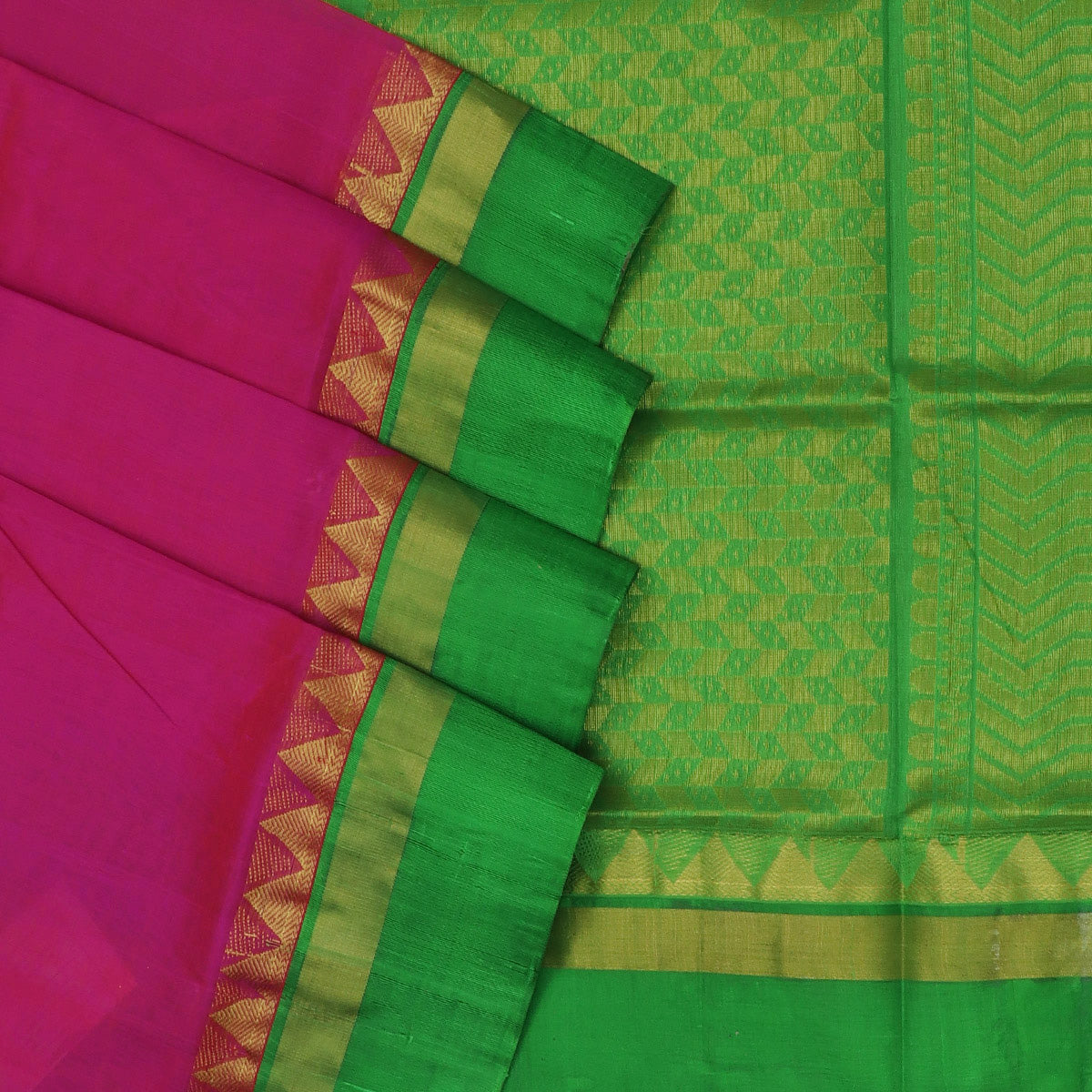 kuppadam Silk Cotton Saree - Pink and Green with Temple silk border