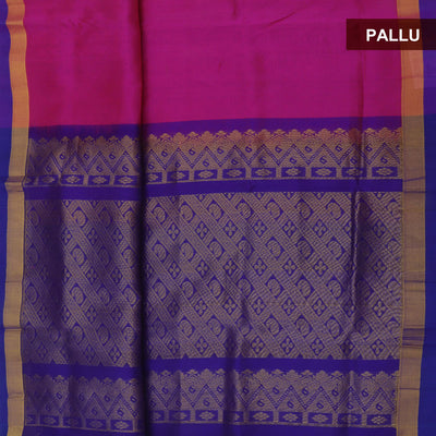 Silk Cotton Saree - Pink and Blue with simple border partly