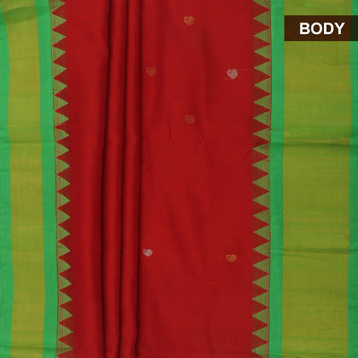 kuppadam Silk Cotton Saree - Maroon and Green with mango butta and temple silk border