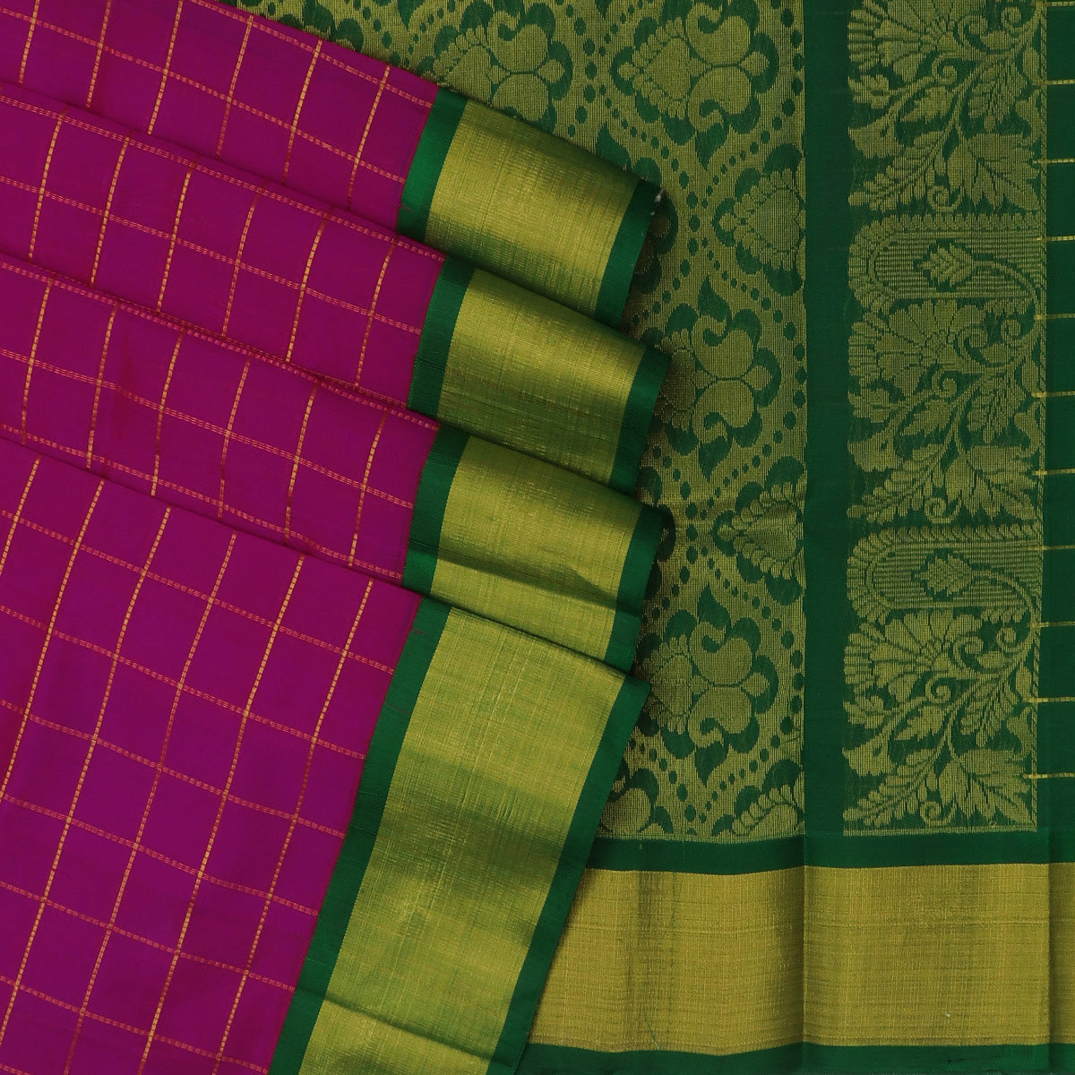 kuppadam Silk Cotton Saree - Pink and Green with Checks and Silk border