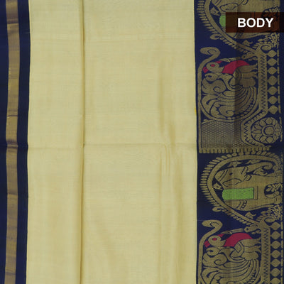 kuppadam Silk Cotton Saree - Sandal and Blue with Elephant zari Silk Border