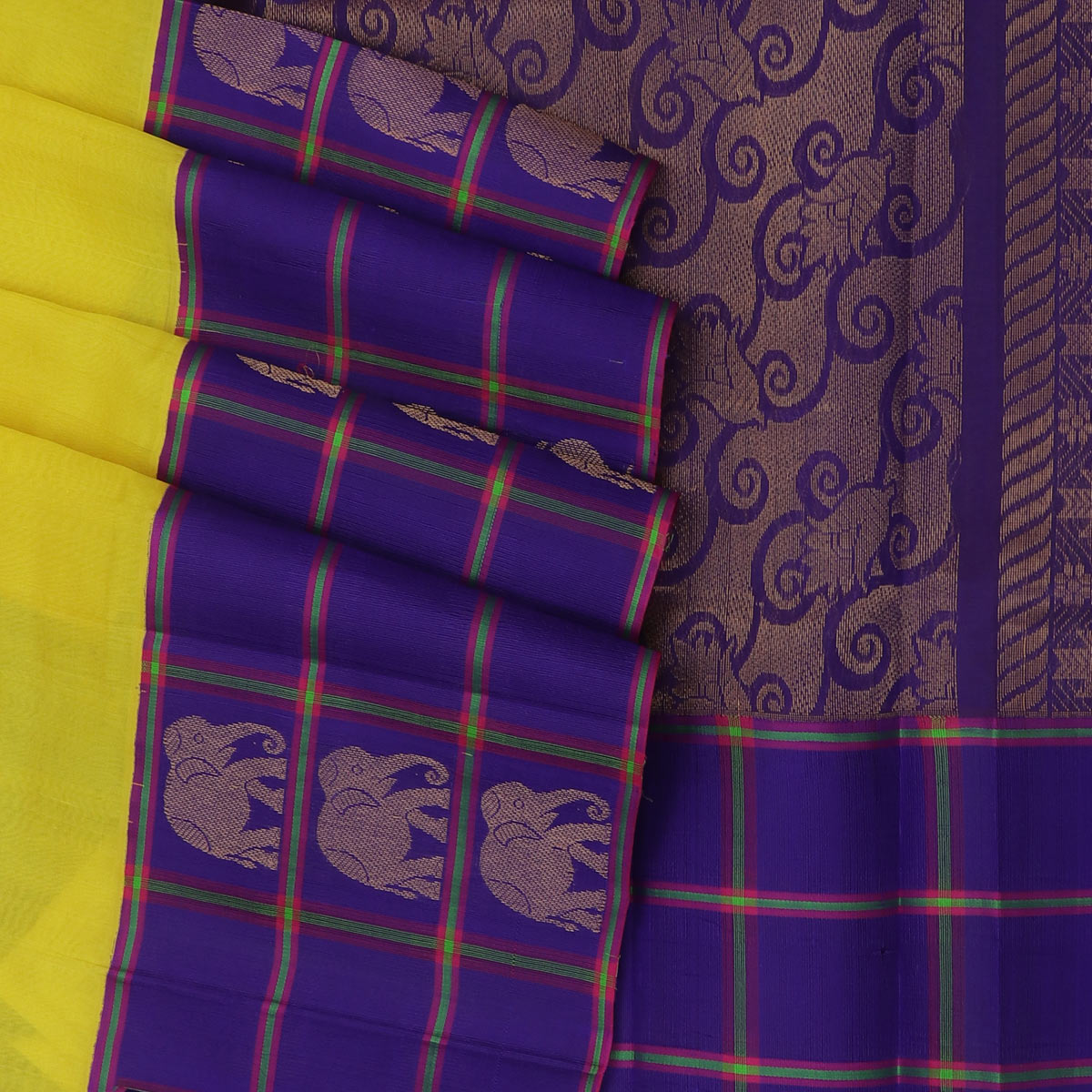 kuppadam Silk Cotton Saree - Yellow and Blue with Elephant zari Silk Border