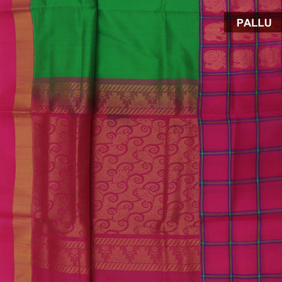 kuppadam Silk Cotton Saree - Green and Pink with Elephant zari Silk Border