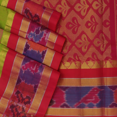 kuppadam Silk Cotton Saree - Green and Pink with Ikkat Silk Border