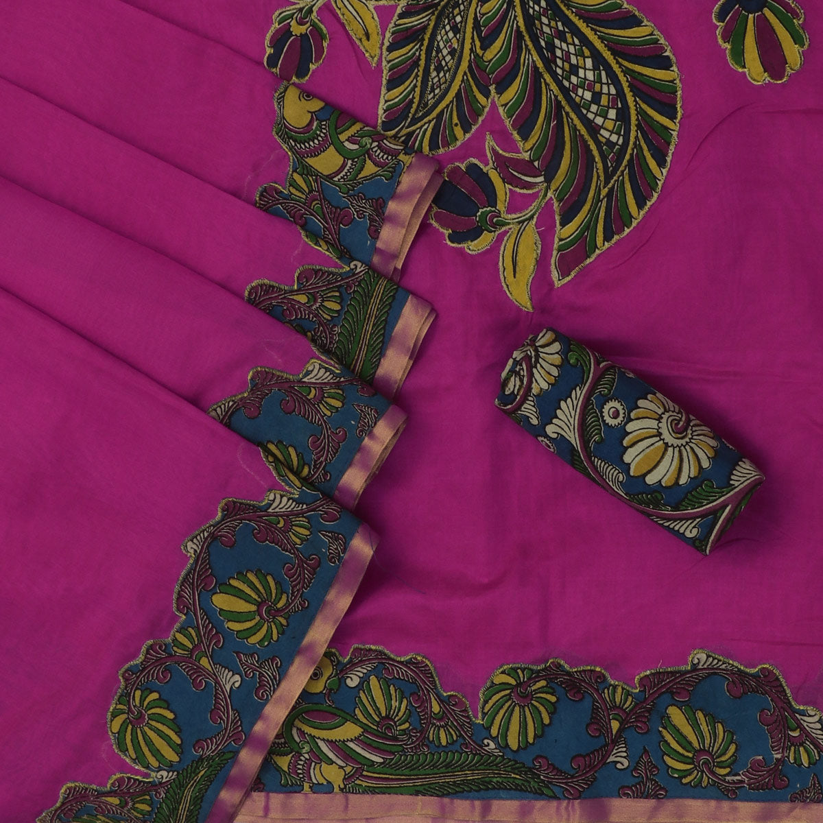 Silk Cotton Saree - Pink with Simple border and Kalamkari applique work