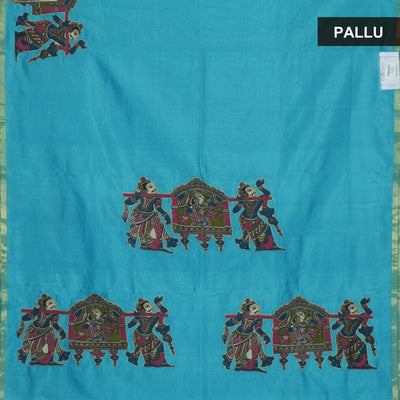 Silk Cotton Saree - Sky Blue with Simple border and Kalamkari applique work