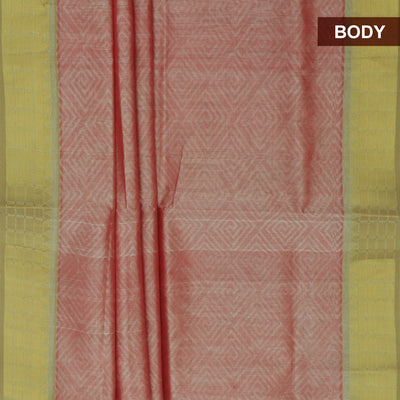 Silk Cotton Saree - Biscuit Brown and Mustard with Temple zari border jacquard for Rs.Rs. 4285.00 | by Prashanti Sarees