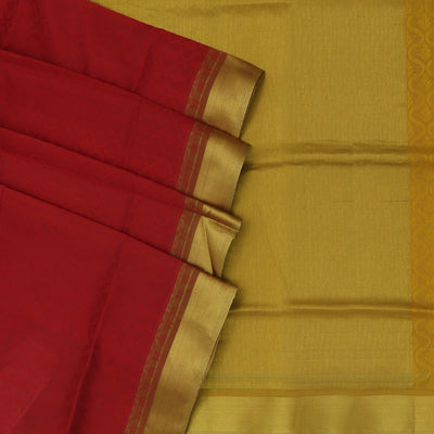 Silk Cotton Saree - Maroon and Mustard with zari border jacquard