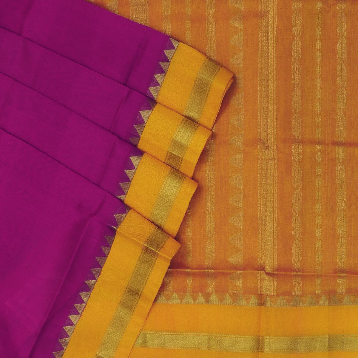 kuppadam Silk Cotton Saree - Pink and Yellow with Temple Zari Silk Border