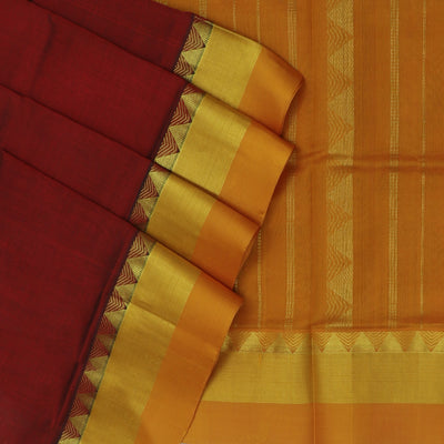 kuppadam Silk Cotton Saree - Maroon and Mustard with Temple Silk Border