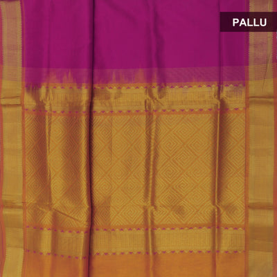 Silk Cotton Saree - Pink and Mustard with Temple Zari Border Partly