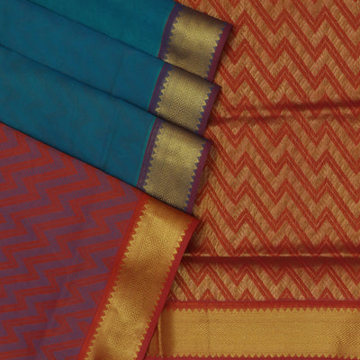 Silk Cotton Saree - Blue and Brown with Temple Zari Border Partly
