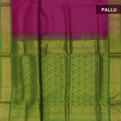 Silk Cotton Saree - Pink and Green with Mango Zari Border Partly