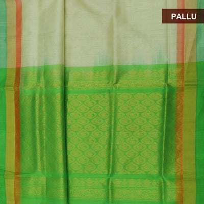 Silk Cotton Saree - Off white and Green with Simple border partly
