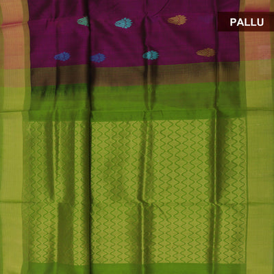 Silk Cotton Saree - Purple and Green with thread butta and Simple border