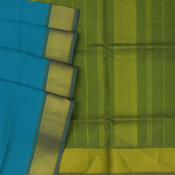 Silk Cotton Saree - Sky Blue and Green with Bavanji zari border