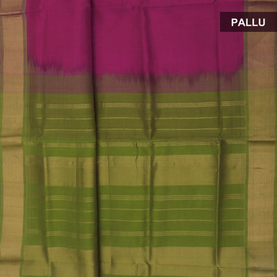 Silk Cotton Saree - Pink and Green with bavanji zari border