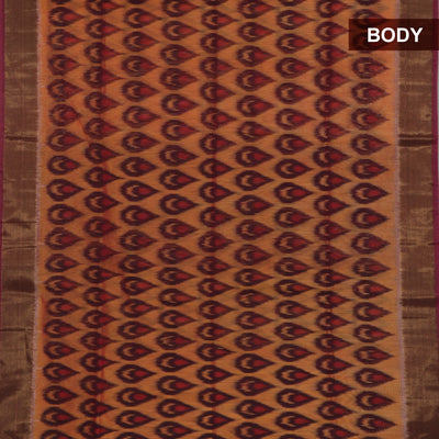 Kora silk Cotton saree Mustard and Maroon with Ikkat prints for Rs.Rs. 3530.00 | Kora Silk by Prashanti Sarees