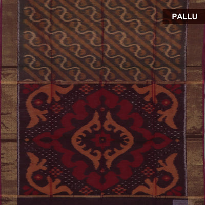 Kora silk Cotton saree Light Brown and Maroon with Ikkat prints