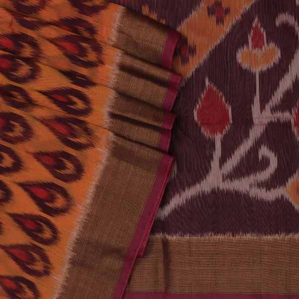 Kora silk Cotton saree Mustard and Maroon with Ikkat prints