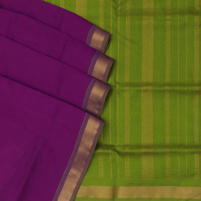 Silk Cotton Saree : Pink and Green with Simple zari border