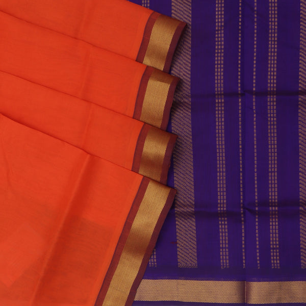 Silk Cotton Saree : Orange and Blue with Simple zari border