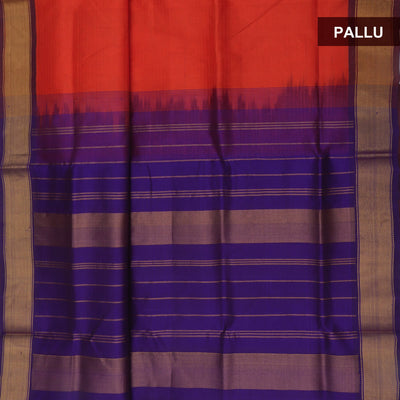Silk Cotton Saree : Orange and Blue witn Bavanji Zari Border