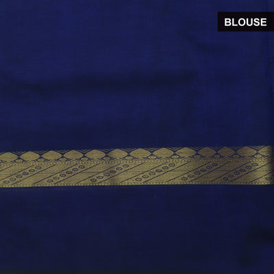 Silk Cotton Saree : Sky blue and Blue with Simple border