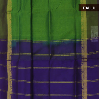 Silk Cotton Saree :Green and Blue with simple border