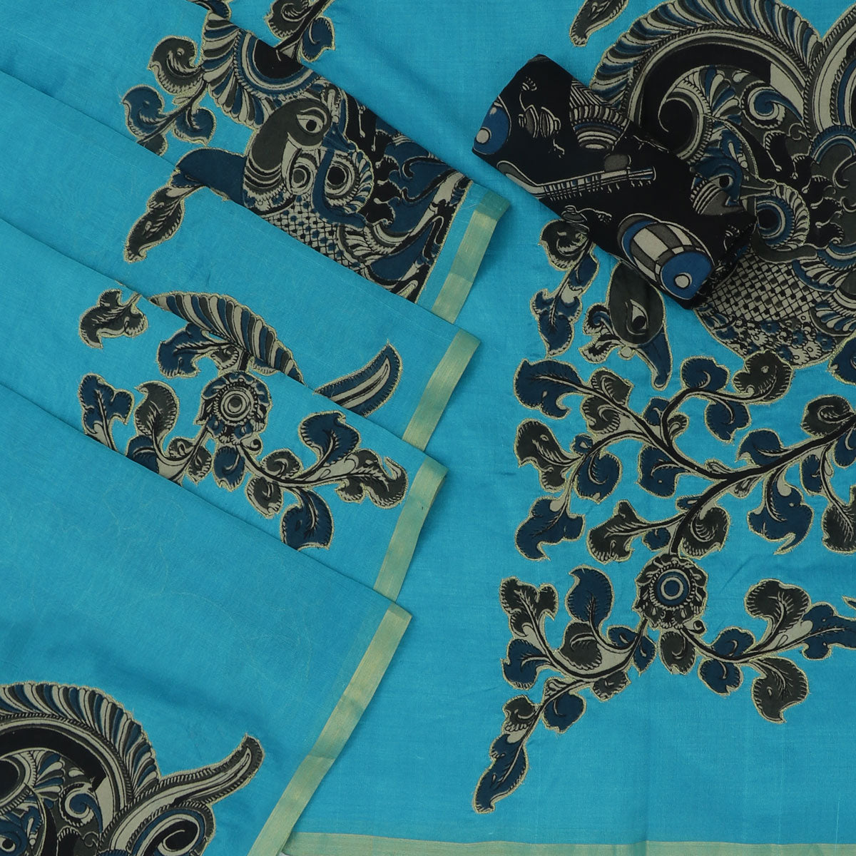 Silk Cotton Saree : Sky blue with Simple border and Kalamkari applique work