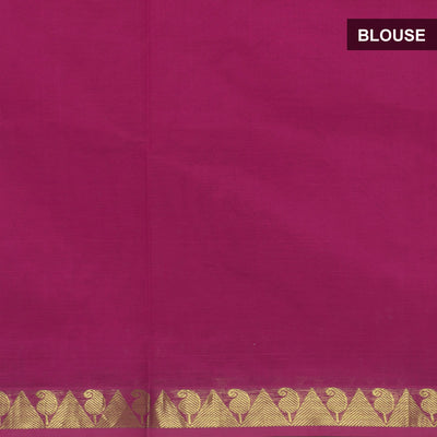 Silk Cotton Saree : Pink with Simple border and Kalamkari applique work