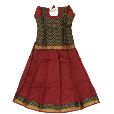 Paavadai Sattai - Black brocade blouse and Maroon with Simple Zari border ( 10 years)