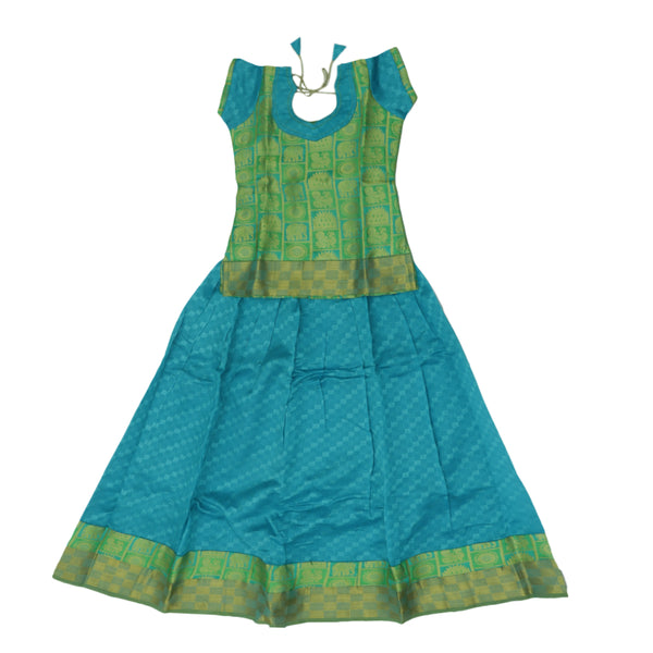 Paavadai Sattai - Light Green and Sky blue with Zari border ( 8 years) for Rs.Rs. 2040.00 | Kid's Paavadai Sattai by Prashanti Sarees