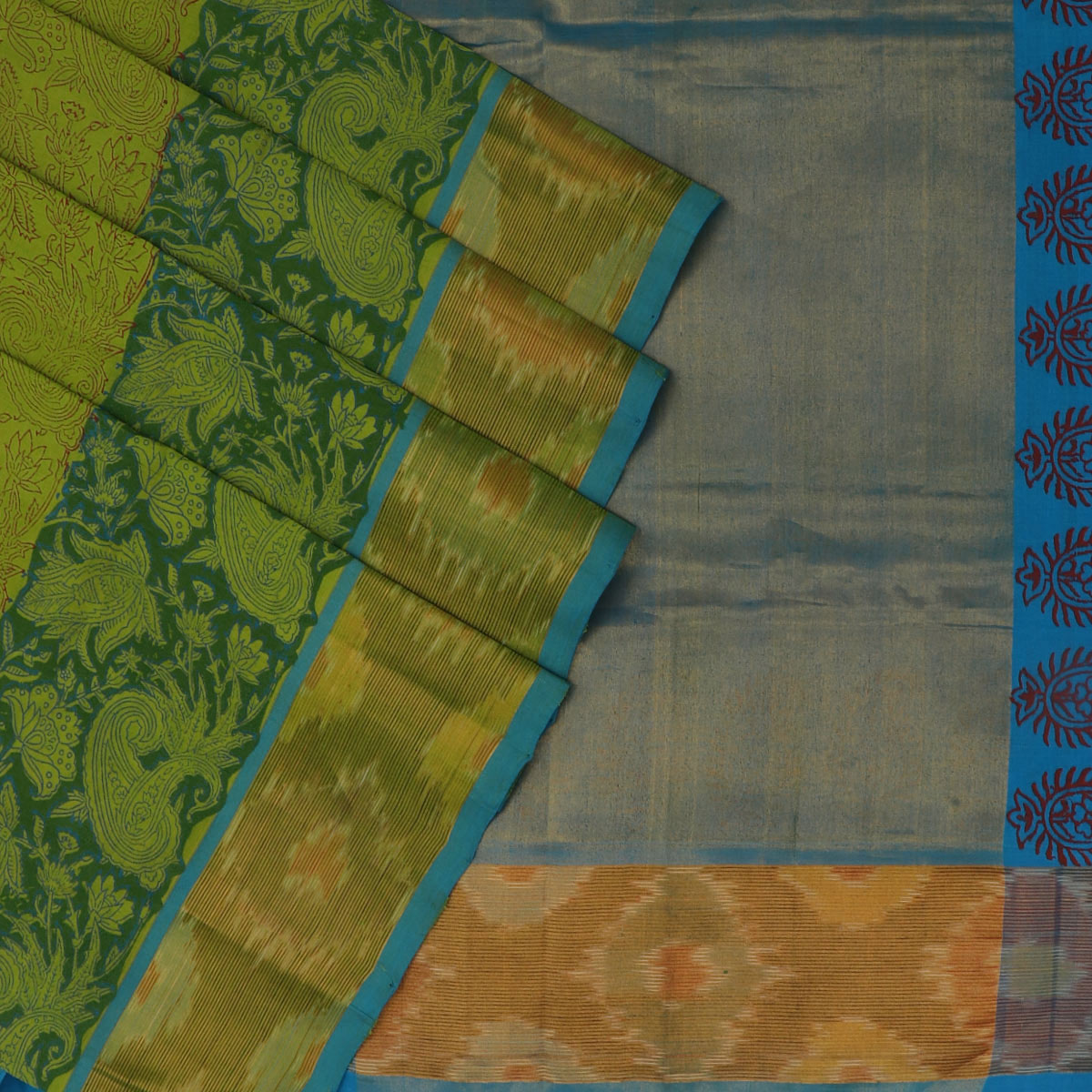 Printed Silk Cotton Saree Mehandi Green and Blue with ikkat border