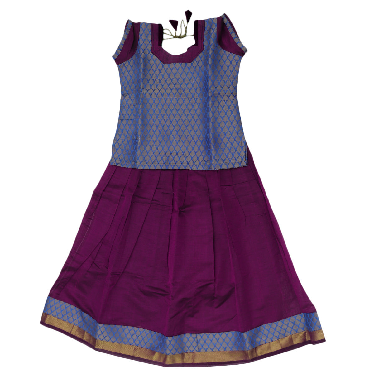 Paavadai Sattai - Blue brocade blouse and Purple with Simple Zari border ( 8 years)