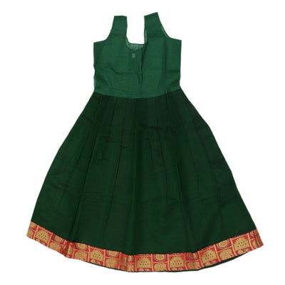 Paavadai Sattai - Red brocade blouse and Green with Simple Zari border ( 5 years)