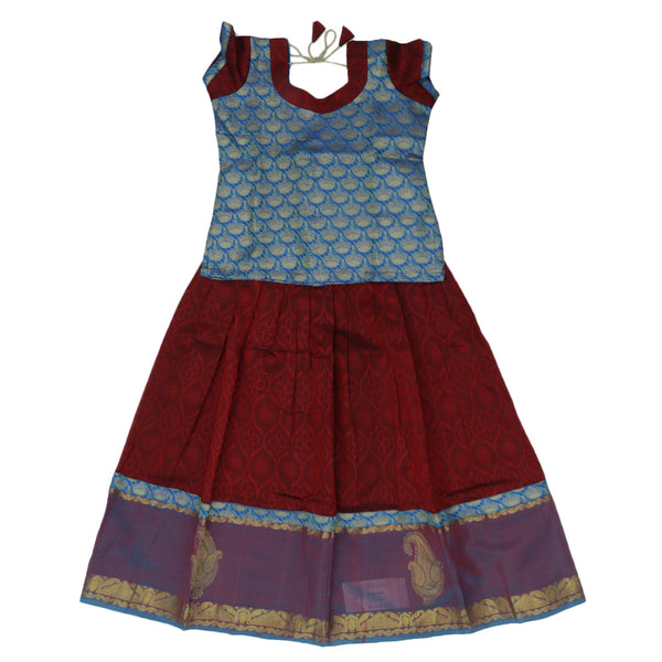 Paavadai Sattai - Blue brocade blouse and Maroon Jacquard with simple border ( 8 years) for Rs.Rs. 2150.00 | Paavadai sattai by Prashanti Sarees